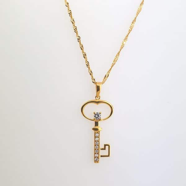 22k Cubic Zirconia Key Pendant with gold chain