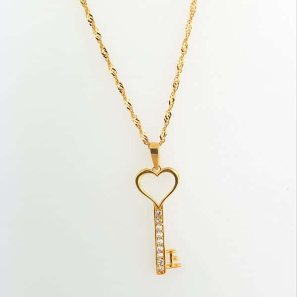 22k Long Heart Cubic Zirconia Key Pendant bespoke jewellery perth