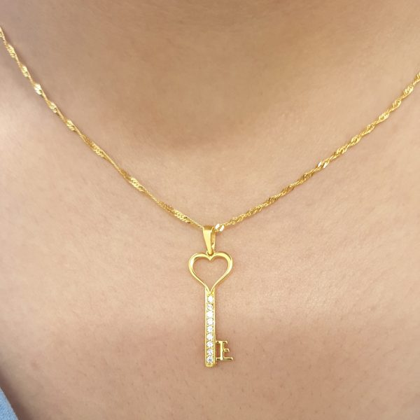 22k Long Heart Cubic Zirconia Key Pendant custom jewellery perth