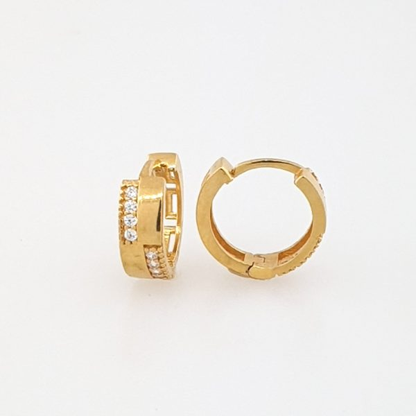 22k Cubic Zirconia Line Hoop Earrings available at jewellery stores perth
