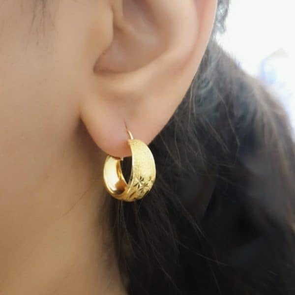 22k Floral Design Hoops gold earrings for sale jewellers in perth