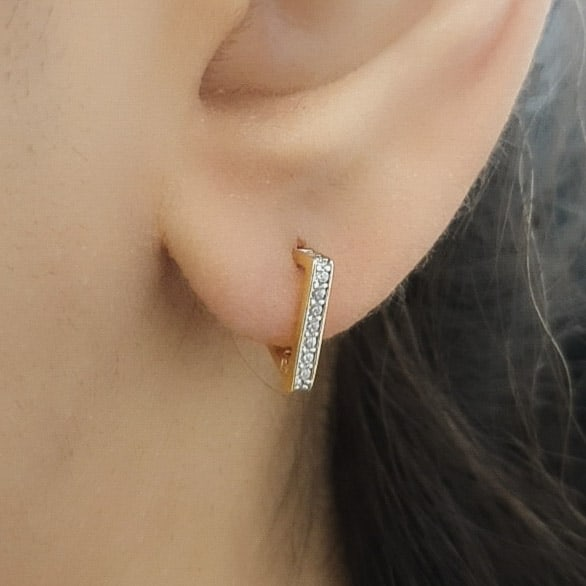 22k Triangle Shaped Cubic Zirconia Earrings available at jewellery stores perth