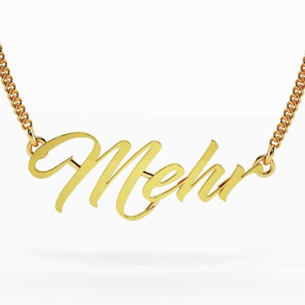 Mehr 22k Script Font Nameplate Necklace 7g gold jewellers perth