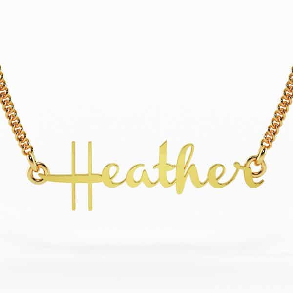 custom jewellery perth 22k Dakota Font Nameplate Heather Necklace 7g