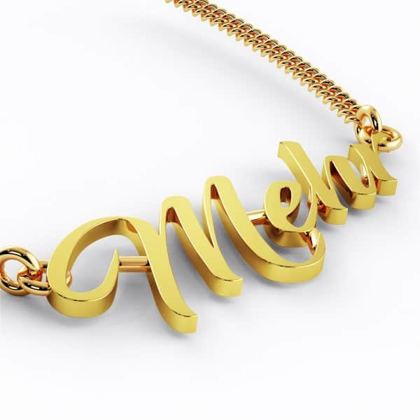 Mehr 22k Script Font Nameplate Necklace 7g gold jewellery perth