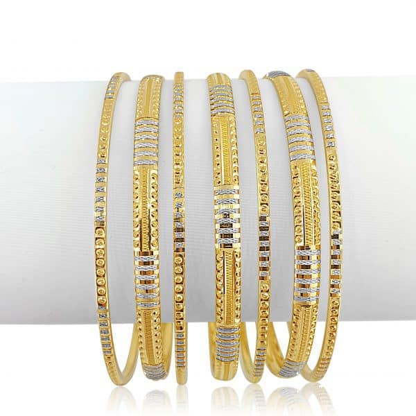 22k Two Tone Bangle Set 80g jewellery online