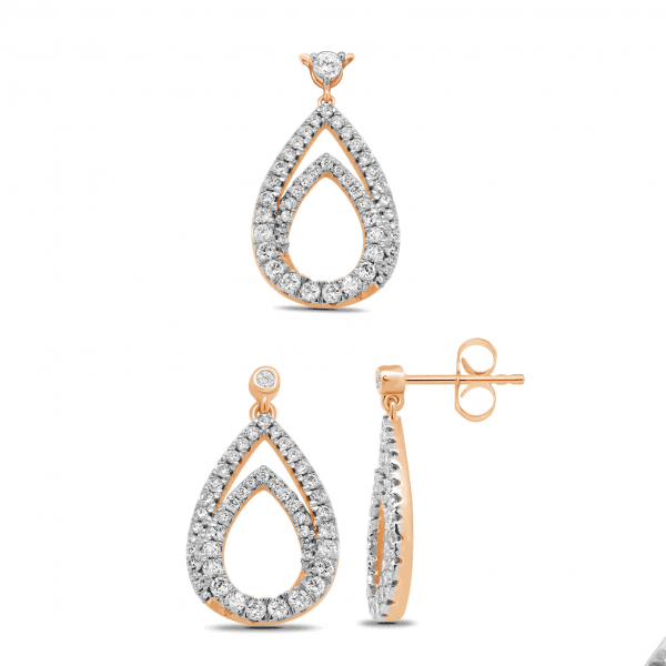 18k Rose Gold Diamond Teardrop Earrings