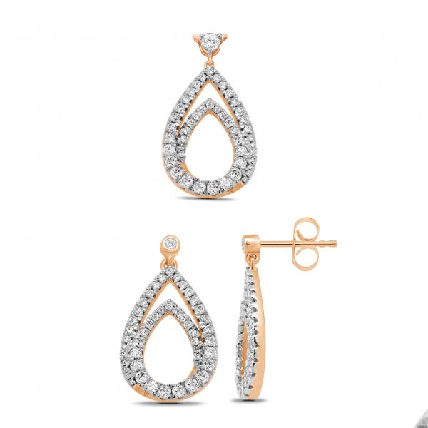 18k Rose Gold Diamond Teardrop Earrings