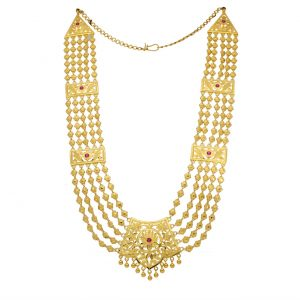 22k Ruby Long Layered Gold Necklace