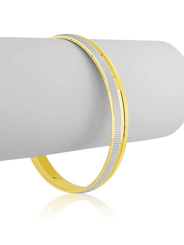 22k Yellow Gold Two Tone Bangle for Men